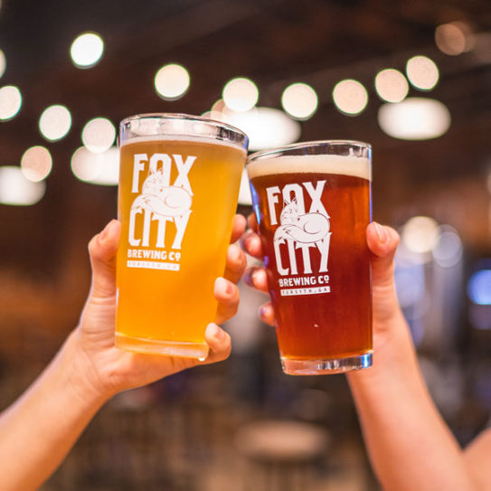 Fox City Brewing Company branded glasses