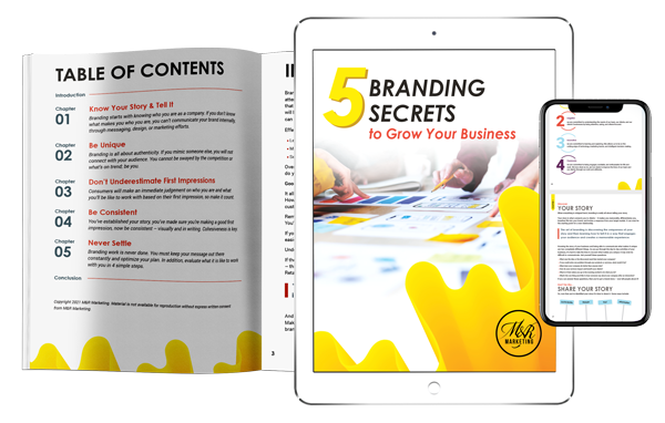5 branding secrets to grow your business - ebook displayed on mobile phone and tablet
